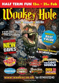 Wookey Hole Caves & Attractions a great Somerset day out. A Great Value Visit To Wookey Hole Caves Over 20 Fantastic Attractions In The One Ticket Price. Feb Half Term, Wells Somerset, The Lost World, Attraction, Activities, Nice, Poster, Nice France, Billboard