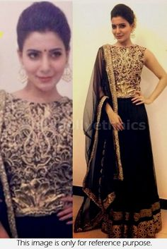 Bollywood Actress Samantha Net and Georgette lehenga in black and gold color