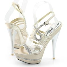 Shoezy Ladies Champagne Peep Toe Heels Diamante « Dress Adds Everyday