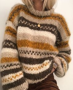 My fall sweater pattern by Siv Kristin Olsen This is an easy knit sweater, where you may use the colours that you like. This is a small model, but you may knit it as a long version if you like. Knitting Kits, Free Knitting, Knitting Machine, Vintage Knitting, Knitting Ideas, Chunky Knitting Patterns, Sock Knitting, Vogue Knitting, Knitting Tutorials