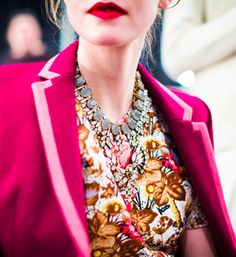 pink tipped blazer, floral print, statement necklace and a bright red lip.