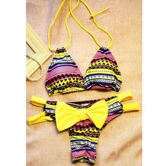 Chic Halter Chevron Printed Cut Out High-Cut Bikini For Women (€8,04) ❤ liked on Polyvore featuring swimwear, bikinis, halter top bikini swimwear, yellow bikini swimwear, cut out bikini swimwear, chevron swimwear and halter swimwear