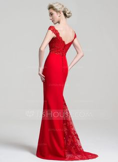 Trumpet/Mermaid Off-the-Shoulder Sweep Train Chiffon Lace Evening Dress With Beading Sequins (017094032) - Evening Dresses - JJsHouse