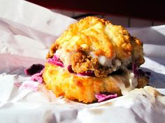 """Where: 35 Orchard St., Lower East Side/ChinatownCost: $6.50""""Fried chicken, gravy, and red cabbage slaw on a buttermilk biscuit. It's the best thing I've ever eaten."""" —Damien Samuel, Facebook"""