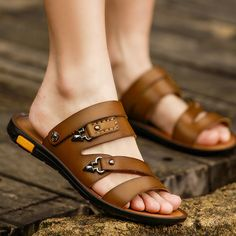 Tidog 2016 new summer sandals leather slippers peep-toe dual-use cool male breathable antiskid leisure shoes Leather Slippers, Mens Slippers, Suede Shoes, Leather Sandals, Adidas Boots, Shoes For School, How To Stretch Shoes, Sport Sandals, Summer Sandals