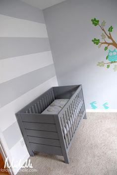 I really like the idea of a grey crib.