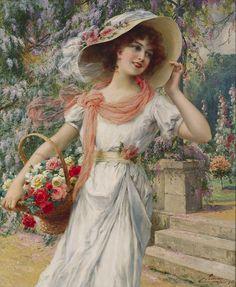 Emile Vernon (french painter) - In the garden