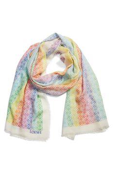 Loewe Monogram Rainbow Stripe Scarf | Nordstrom Striped Scarves, Fashion Branding, Cashmere, Cover Up, Nordstrom, Monogram, Stripes, Rainbow, Street Style