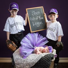 Big brothers & little sister picture. Newborn picture.