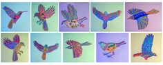 LIM woodbirds! Painting on wood. Collage, mexican oilcloth, gold and silver details For sale.