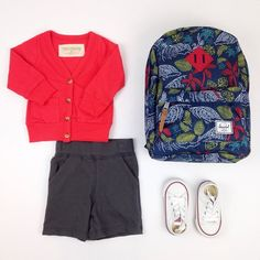 #ootd featuring the grampa cardi (restocked now!) buck short #converse chucks and new spring #herschel backpack
