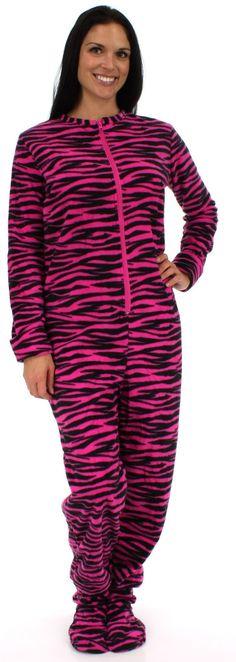 Womens Zebra Footed Fleece Pajamas S-2X Footie Feet Adult Onesie ...