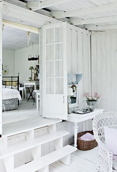 Shabby Chic French Rustic Bedroom living room white blue decor idea. ***Pinned by oldattic***