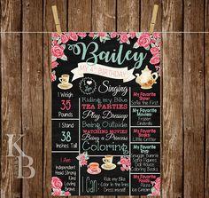 Tea Party Birthday -Tea for Two - Garden Party - Vintage Tea Party - Birthday Chalkboard - First Birthday Board - First Birthday Chalkboard