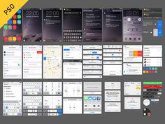 Dribbble - iOS 8 UI (free PSD) by Oz Pinhas