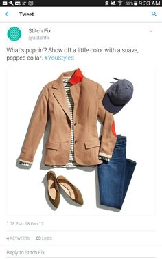 Love this classic combo with the jacket and jeans.  The pop of color is nice too