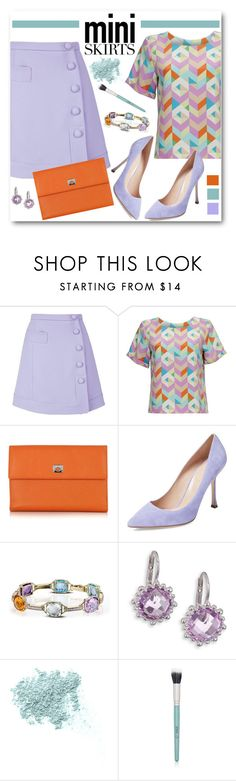 """""""Carven Crepe Mini Skirt"""" by brendariley-1 ❤ liked on Polyvore featuring Carven, Almost Famous, Pineider, Sergio Rossi, Dabakarov, Anzie, Bare Escentuals, Senna Cosmetics and MINISKIRT"""