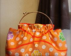 SALE SALE  Obi, Kimono, bag / OR331 Small Flowers Pattern Antique Obi Gamaguchi Purse