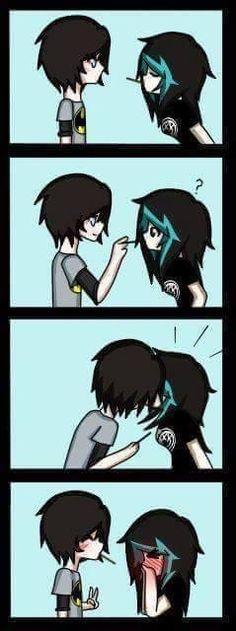 This is so kawaii omg Emo Couples, Couples Comics, Cute Anime Couples, Cute Emo, Cute Love, Photo Manga, Chibi, Pocky Game, Emo Scene