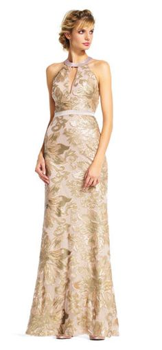 Adrianna Papell | Sequin Filigree and Floral Halter Dress with Open Back