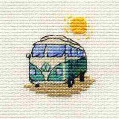 Green Camper Van from Mouseloft counted cross stitch kit. Small Cross Stitch, Cute Cross Stitch, Counted Cross Stitch Kits, Cross Stitch Designs, Modern Cross Stitch, Cross Stitch Patterns, Cross Stitching, Cross Stitch Embroidery, Embroidery Patterns
