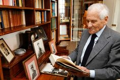 FRANCE. Colombey-les-deux-Eglises. French writer Jean d'ORMESSON at Charles de Gaulle's house. 2008. The library in Charles de Gaulle's office.