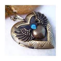 Blue Sapphire Angel Wing Heart Brass Picture Locket Pendant Necklace ❤ liked on Polyvore featuring jewelry, necklaces, heart locket, angel wing heart necklace, heart shaped pendant necklace, pendants & necklaces and locket pendant