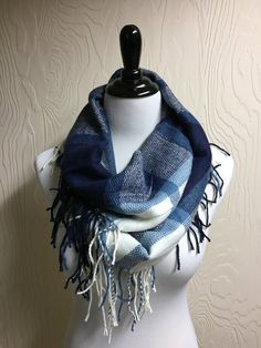 Colorblock Fringe Unity Scarf - Blue and White