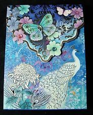 Paper Notepad PUNCH STUDIO Jeweled BLUE PEACOCK Magnetic 66522 Note Pad Book NEW