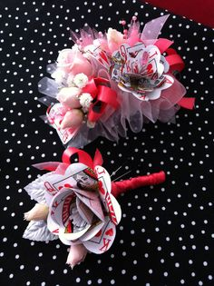 Alice in wonderland corsage and boutonniere