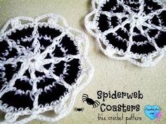 Spiderweb Coasters - free crochet pattern.