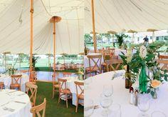 Gasparilla Wedding, Boca Grande Island Florida. Mixed bottle centerpieces. Tent reception. Flowers by Mary Maslow Design.