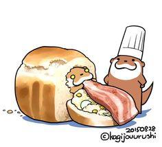 焼きたてパンにポテサラベーコン♪