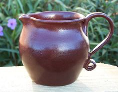 Deep Firebrick Red Brown 2 cup pitcher pourer by 420Pottery, $29.99