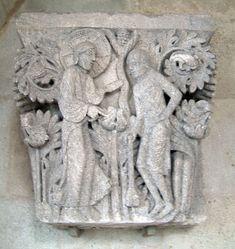 1120-46.Cathédrale Saint-Lazare. Autun (Saône-et-Loire).France. Bourgogne-Franche-Comté.Capital. Chapiteau, salle capitulaire,Capital 14: God and Cain or Adam.
