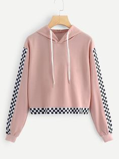 SHEIN offers Checkerboard Print Hooded Sweatshirt & more to fit your fashionable needs. Summer Dress Outfits, Casual Outfits, Cute Outfits, Dress Casual, Skirt Outfits, Legging Outfits, Hoodie Sweatshirts, Hoodies, Teen Leggings