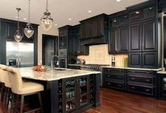 Furniture , Suave Distressed Black Kitchen Cabinets : Distressed Black Kitchen Cabinets With Large Island And Marble Countertop