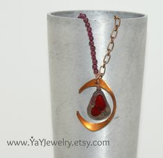 I Love Me a Vampire Necklace was made for The Vampire Diaries Television Show - Garnet - Red - Lariat - YaY Jewelry. $55.00, via Etsy.
