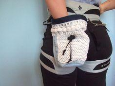 Chalk Bag for Climbing Denim and Crochet by bryonymacintyre, $18.00