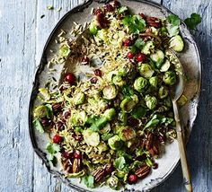 This Persian inspired spiced rice dish makes a hearty vegetarian main, a side dish to roast meats, or an attractive addition to a Boxing Day buffet Bbc Good Food Recipes, Vegetarian Recipes, Cooking Recipes, Cooking Rice, Roasted Sprouts, Roasted Meat, Spiced Rice, Xmas Food, Leftovers Recipes