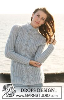 """DROPS 120-24 - DROPS jumper in 2 threads """"Kid-Silk"""" with rib and cables. Size S-XXXL. - Free pattern by DROPS Design"""