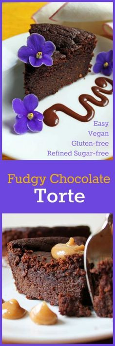 Nutritionicity   Recipe: Fudgy Chocolate Torte (Gluten-Free, Vegan, Refined Sugar Free and Easy!) This luscious and easy to make fudgy chocolate torte is moist and delicious. No guilt here - it's packed with nutrients and contains no processed sugar. Delicious on it's own or served with any topping of your choosing. Recipe at www.nutritionicit...