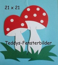 Teddys Fensterbilder 551´ Fliegenpilze ` Tonkarton Hobbies For Kids, Hobbies And Crafts, Baby Knitting Patterns, Baby Patterns, Clock Craft, Wedding Fabric, Passion Flower, Brocade Fabric, Vintage Knitting