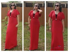 Stanzino Elastic Waist Red Maxi Dress | The Color Wheel Gallery