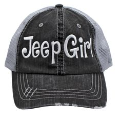 Jeep Girl Embroidered Trucker Style Cap Hat Grey Grey White