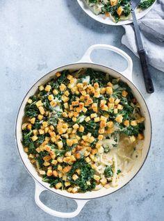 Gratin de fenouil et de kale, croûtons au parmesan #ricardo #foodphotography #vegetarian