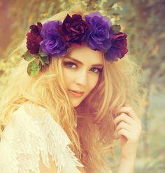 Romantic Flower Wreaths for Hair | ... All adornments » Milcah- Bridal Flower Crown, Wedding Head Wreath