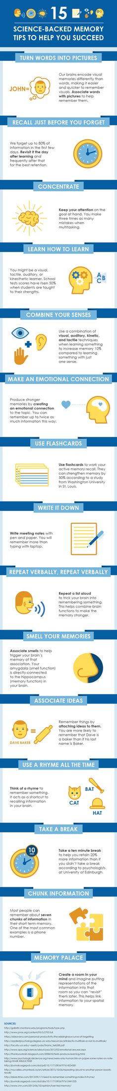 15 Science-Backed Memory Tips Infographic - http://elearninginfographics.com/15-science-backed-memory-tips-infographic/