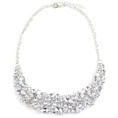 Silver Faux Crystal Wedding Necklace ($3.59) ❤ liked on Polyvore featuring jewelry, necklaces, fake crystal necklace, silver crystal jewelry, fake jewelry, fake necklace and artificial jewellery
