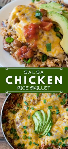 This super easy and Cheesy Salsa Chicken Rice Skillet is filled with organic ingredients and ready in less than 30 minutes! - The ingredients and how to make it please visit the website Fast Dinner Recipes, Fast Dinners, Fast Recipes, Easy Meals, Rice Recipes, Crockpot Recipes, Vegan Recipes, Recipes Using Cooked Chicken, Cheap Chicken Recipes